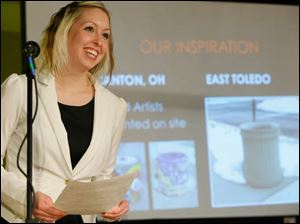 Amber LeFever, from the East Toledo Phase 1/Public Art organization, presents her ideas to beautify the east side of Toledo.