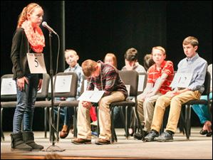 Samantha Schofield, of Fallen Timbers Elementary School, spelling a word during the contest.