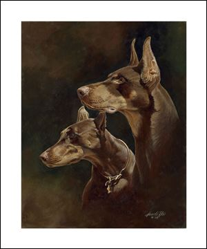 'Proud Pair' by Harold Roe, whose paintings can be seen at Fenwick Gallery, 3433 W. Alexis Rd.