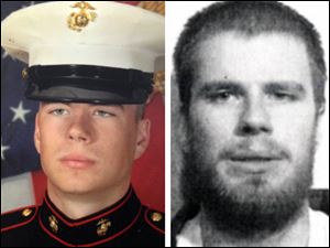 Jeffrey Belew in his U.S. Marine Corps uniform, left, and after his arrest in April, 2011, right.