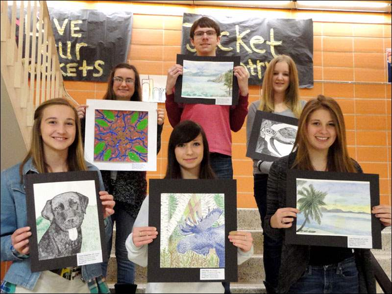 Maura Meyers' 8th grade students who are participating in the show: Top Row: Mady Oney, Zach Rudolph, Sam Hood; Bottom Row: Claire Chapman, Jess Daly, Leah Kazmaier; Not Pictured: Jillian Craig, Nicolas Aleman