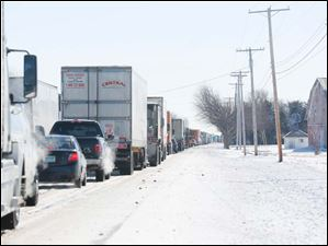 Traffic is backed-up on U.S. 20 eastbound near Hicksville.