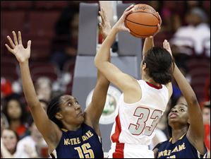 Notre Dame's Kaayla McIntyre (15) and Tierra Floyd (31) defend against Cincinnati Princeton's Carlie Pogue (33).