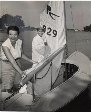 Joanne Jorgensen Deatrick, shown in 1956, supported boating with her then-husband Raymond P. Greene.
