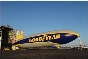 The newest Goodyear blimp was introduced Friday at Goodyear's airship base in Akron.
