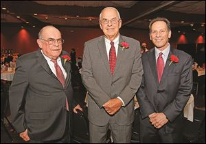 Roasters at Central Catholic's soiree included, from left, Jim Shindler, Dick Faist, and Jay Feldstein.