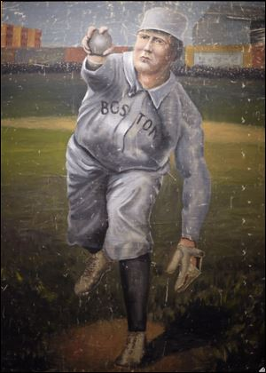 A 1910 painting of Cy Young in a Boston Red Sox uniform.