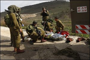 A wounded Israeli soldie