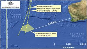 This graphic released by Australian Maritime Safety Authority shows an area in the southern Indian Ocean that the AMSA is concentrating its search for the missing Malaysia Airlines Flight MH370 on.