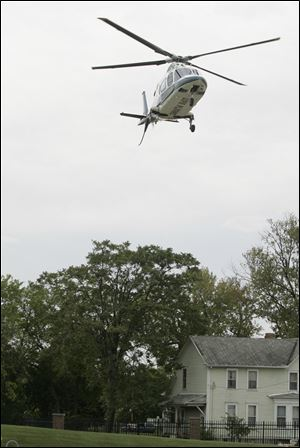 A Life Flight helicopter arrives at Mercy St. Vincent Medical Center in this file photo.