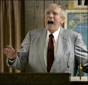 The Rev. Fred Phelps Sr. preaches at his Westboro Baptist Church in Topeka, Kan., in March, 2005.