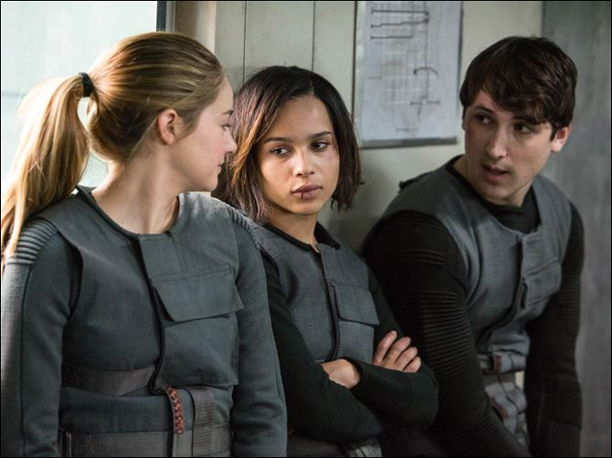 Film-Divergent From left, Shailene Woodley as Beatrice 'Tris' Prior, Zoe Kravitz as Christina, and Ben Lloyd- Hughes as Will in the film, 'Divergent.'