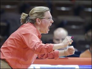 Bowling Green State University head coach Jennifer Roos cheers her team against High Point University during the econd half.