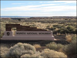 A sign marks the entrance of Wupatki National Monument in northern Arizona.