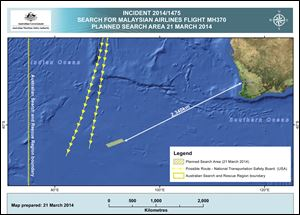 This graphic provided by Australian Maritime Safety Authority, shows an area in the southern Indian Ocean that the AMSA is concentrating its search for the missing Malaysia Airlines Flight MH370 on.