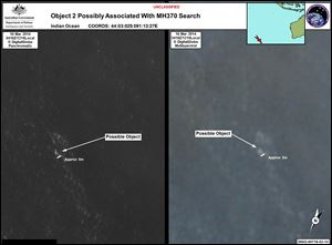 March 16 satellite imagery provided by Commonwealth of Australia - Department of Defence shows an a floating object is seen at sea next to the descriptor which was added by the source.