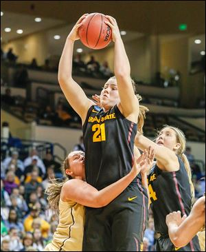 Sophie Brunner secures a rebound in Arizona State's 69-61 win over Vanderbilt on Saturday.