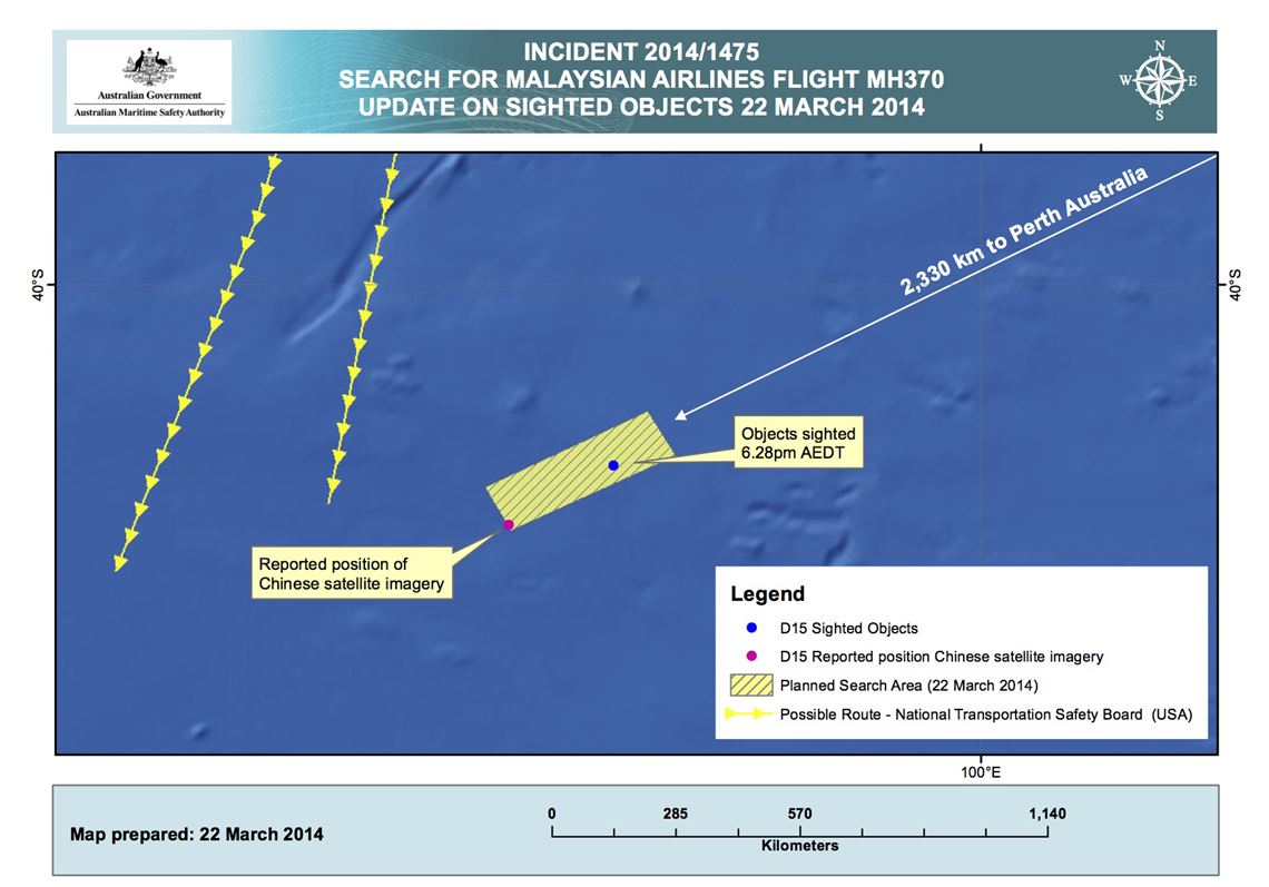 New satellite data from France show possible Malaysian jet debris in