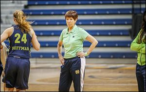 Notre Dame coach Muffet McGraw watches her team practice for tonight's game at Savage Arena against Arizona State. The Fighting Irish will try to improve to 34-0.