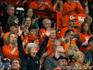 BGSU fans cheer as the Falcons crush St. Bonaventure  during the first half.
