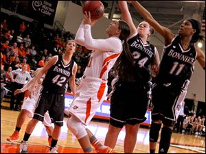 BGSU's Jillian Halfhill is surrounded by St. Bonaventure defenders during 2nd half.