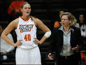 BGSU's Jill Stein stands by as head coach Jennifer Roos question's a ref's cal.