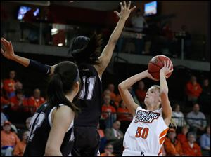 BGSU's Miriam Justinger shoots over St. Bonaventure's Hannah Little during 2nd half.