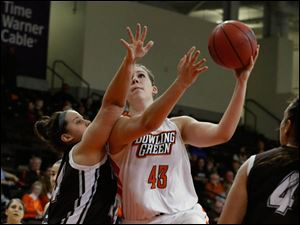 St. Bonaventure's Chelsea Bowker tries to block the shot of BGSU's Abby Siefker during 2nd half.