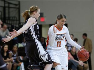 St. Bonaventure's Emily Michael guards BGSU's Jillian Halfhill during the 2nd half.