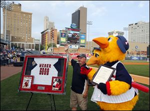 Jim Weber was honored last season at Fifth Third Field for broadcasting 5,000 consecutive Mud Hens games.