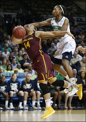 Arizona State's Adrianne Thomas is fouled in the first half by Notre Dame's Lindsay Allen. Thomas scored 14 points for ASU.