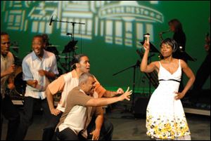 From left are Derrick Baker, Christopher Brasfield, Jose Figueroa, Ron Lucas, and Danes Robinson in a number from 'Smokey Joe's Cafe.'