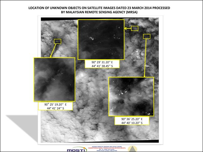 Malaysia Plane This graphic released by the Malaysian Remote Sensing Agency today shows satellite imagery taken Sunday, with the approximate positions of objects seen floating in the southern Indian Ocean in the search zone for the missing Malaysia Airlines Flight 370.