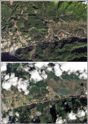 This combination of images provided by NASA shows the Oso, Wash. area on Jan. 18, 2014, top, and the same area on March 23, 2014, bottom, after a March 22 landslide sent muddy debris spilling across the North Fork of the Stillaguamish River. .