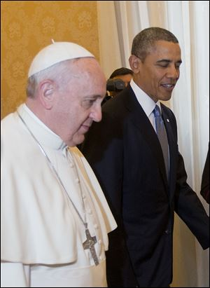 President Obama, right, meets with Pope Francis, today at the Vatican.