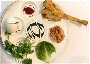 A plate with the traditional foods that illustrate the Jews' struggle for freedom.