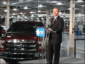 John Hinrichs, Ford president of the Americas, announces the production of the Ford EcoBoost V6 2.7 L engine will be at the Ford Engine plant in Lima, Ohio.