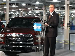 Joe Hinrichs, Ford president of the Americas, announced Friday at the Ford engine plant in Lima, Ohio,  that the plant would produce the 2.7-liter EcoBoost V-6 engine for the F-150 pickup.