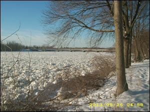 A March 1 ice jam east of the Maumee-Perrysburg bridge pushes down the river toward Maumee Bay.