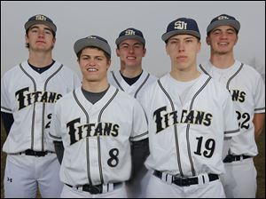 St. John's Jesuit will be led by returning senior starters, from left, Pete Burkett, Alex Gum, Jacek Czerwinski, Collin Korte, and Nolan Silberhorn. The Titans are favored to win the Three Rivers Athletic Conference this season.