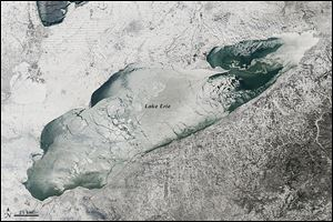 The satellite image above, taken by the NASA Earth Observatory on Jan. 9, shows the extensive ice cover on Lake Erie that developed this winter. The persistent cold temperatures and abundance of subzero days created ice that covered 92.2 percent of the total surface area of the Great Lakes on March 6, according to the Weather Channel.