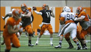 BG quarterback Matt Johnson was 18 of 26 with five touchdown passes in Saturday's scrimmage.