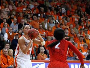 BGSU's Jill Stein sets up for a 3-pointer under pressure from Rutgers' Kahleah Copper.