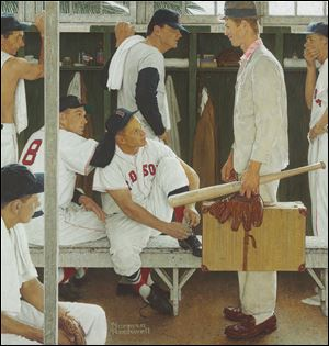 "Norman Rockwell's 1957 painting, ""The Rookie (Red Sox Locker Room)"" shows, pitcher Frank Sullivan, right fielder Jackie Jensen and catcher Sammy White, second baseman Billy Goodman and Hall of Famer Ted Williams."