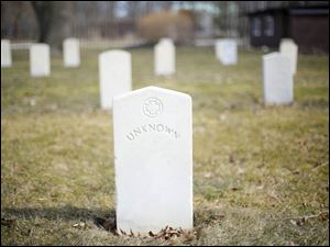 A tombstone for the Unknown Soldier in the the Confederate Cemetery on Johnson's Island.