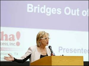 Ruby Payne, co-author of Bridges Out of Poverty, speaks during a community forum on poverty.