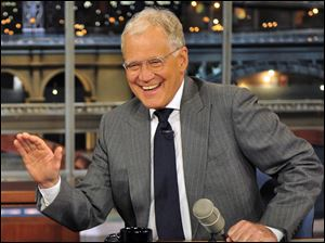 "Host David Letterman appears at a taping of his shows""Late Show with David Letterman"" in New York."