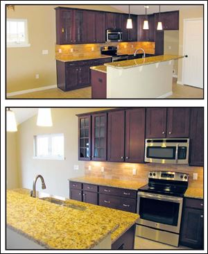 The colorful backsplash and granite counter tops are design highlights.