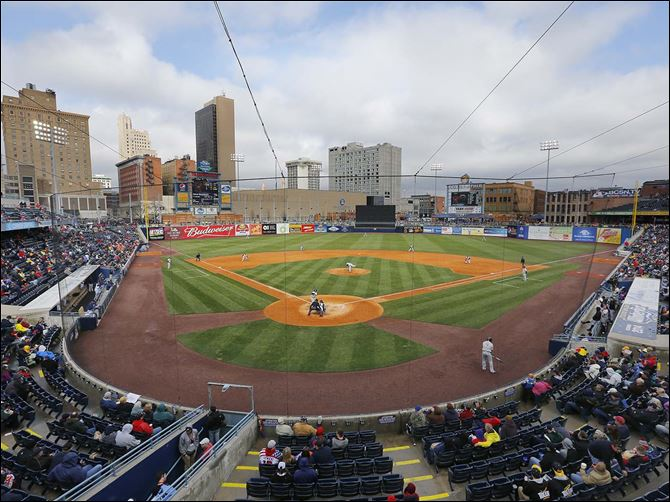 Despite many empty seats, the Mud Hens counted a sellout crowd of 12,787 on opening day.