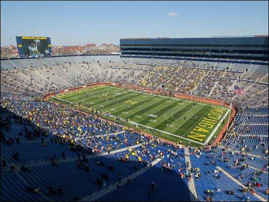 A sparse crowd watches the University of Michigan annual spring game.